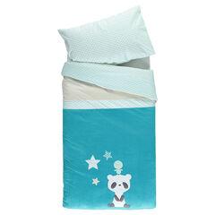 Parure housse de couette + taie d'oreiller avec panda brodé - 140 x 100 cm