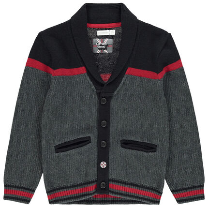 Gilet en tricot avec bandes contrastées et poches passepoilées