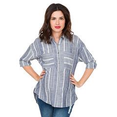 Chemise manches longues de grossesse rayée