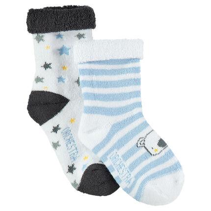 Lot de 2 paires de chaussettes assorties avec koala et étoiles en jacquard