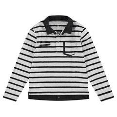 Junior - Polo manches longues en jersey avec effet de superposition et poche