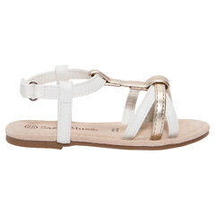 Nu-pieds blancs et dorés