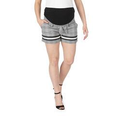 Short de grossesse à carreaux et bandes contrastées