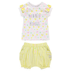Ensemble avec tee-shirt print Minnie ©Disney et short rayé