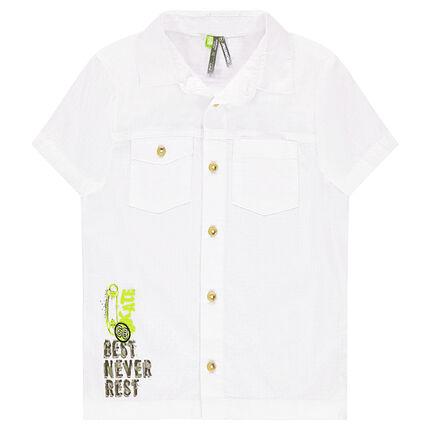 Chemise manches courtes en coton avec print fantaisie