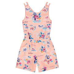 Junior - Combi-short en crêpe avec motif tropical all-over et dos ajouré