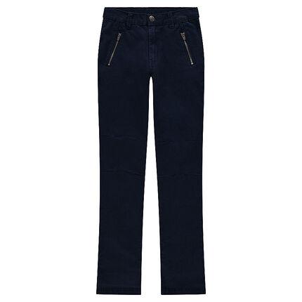 Junior - Pantalon en twill surteint avec poches zippées