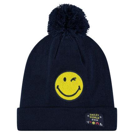 Bonnet en tricot côtelé avec badge ©Smiley patché et pompon