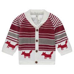 Gilet en tricot motif jacquard avec doublure sherpa