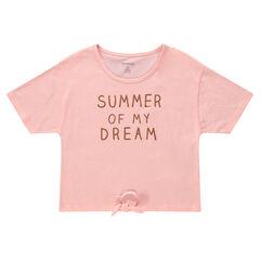 Junior - Tee-shirt manches courtes avec message printé et liens à nouer