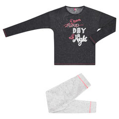 Junior - Pyjama long bicolore en molleton et jersey