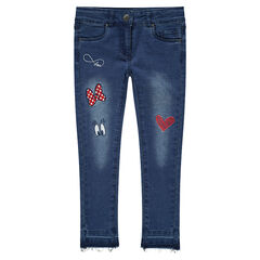Jeans effet used coupe slim avec broderies et prints