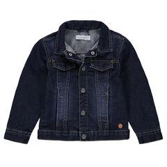 Veste en jeans effet used avec poches pressionnées