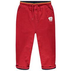 Pantalon doublé jersey à taille élastiquée