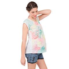 Tee-shirt manches courtes de grossesse à imprimé tropical