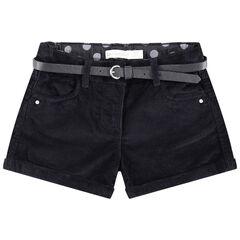Short en velours uni avec ceinture ajustable et amovible