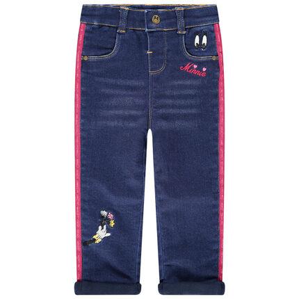 Jeans effet used et crinkle à bandes contrastées et broderies
