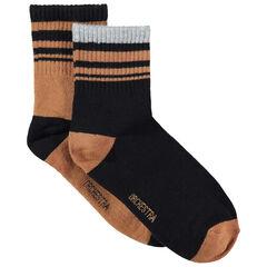 Lot de 2 paires de chaussettes à rayures contrastées en jacquard