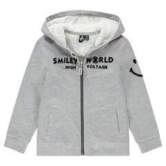 Junior - Gilet en molleton à capuche doublé sherpa avec Smiley en bouclette
