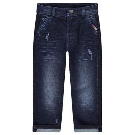 Jeans effet used et crinkle coupe slim avec inscription en relief