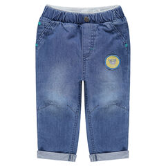 Pantalon en chambray avec badge ourson