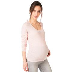 Tee-shirt manches longues de grossesse chiné côtelé