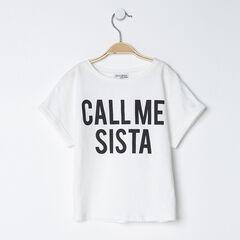 """T-shirt manches courtes en coton uni à message printé """"Sista"""""""