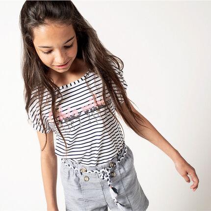 Junior - T-shirt manches courtes rayé avec inscription en sequins