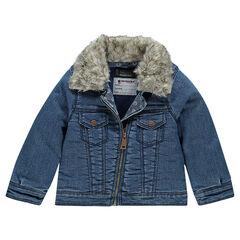 Veste en jeans zippée à col amovible en fausse fourrure
