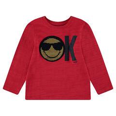 1b7e38276843d Tee-shirt manches longues en jersey avec ©Smiley en sequins magiques