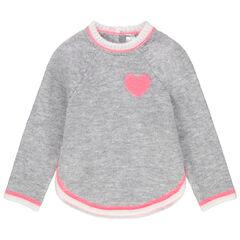 Pull en tricot chiné avec coeur en jacquard
