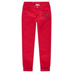 Junior - Pantalon uni rouge coupe slim avec fleur en strass