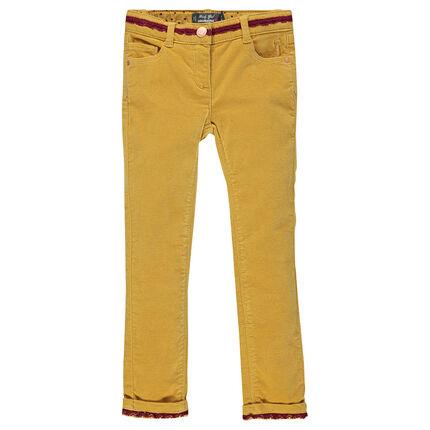Pantalon slim en velours ras suédé avec détails dentelle