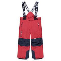 Pantalon de ski imperméable rouge avec bretelles amovibles