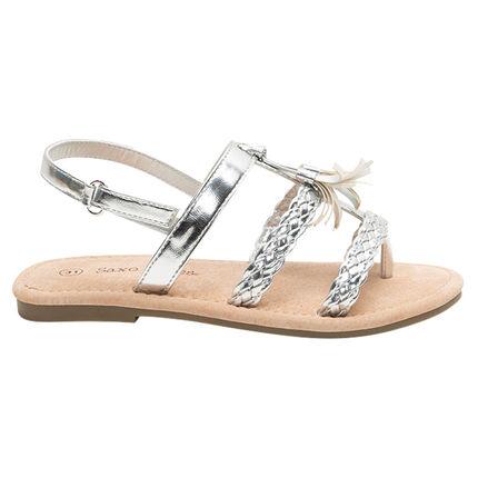 Nu-pieds argentés avec brides tressées et pompon