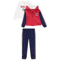 Jogging 3 pièces avec t-shirt, gilet à capuche et pantalon uni à bandes