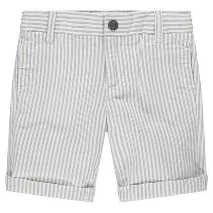 Bermuda à rayures verticales en coton