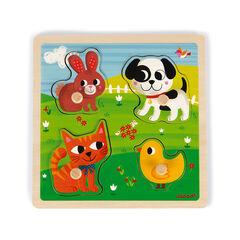 Puzzle tactile Mes premiers animaux - 4 pièces  , Janod