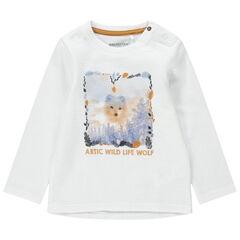 T-shirt manches longues en maille fantaisie avec loup printé