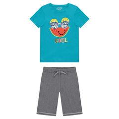 Junior - Pyjama en jersey avec print fantaisie et bermuda en molleton léger