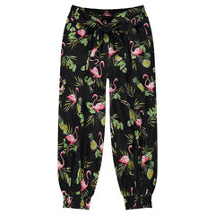 Pantalon fluide esprit sarouel avec motif tropical all-over