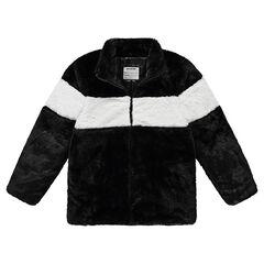 Junior - Manteau en fausse fourrure avec bande contrastée