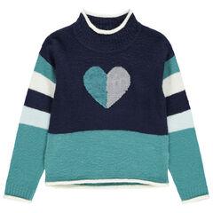 Pull en tricot contrasté à coeur en sequins magiques