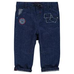 Jeans avec empiècements effet used et badge patché