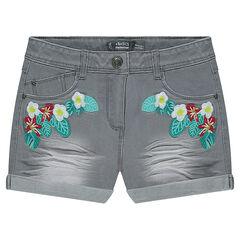 Junior - Short en jeans effet used et crinkle avec fleurs brodées