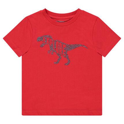 Tee-shirt manches courtes rouge avec dinosaure printé