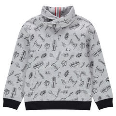 Junior - Sweat en molleton avec col croisé et imprimé all-over