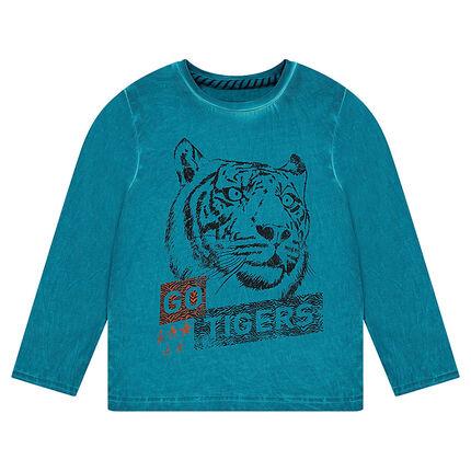 Tee-shirt manches longues effet cold dye avec tigre printé