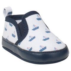 chaussons bottillons élastiqués motif bateaux