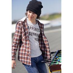 Junior - Chemise manches longues à carreaux en flanelle avec capuche